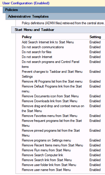 Windows - Restricted Start Menu