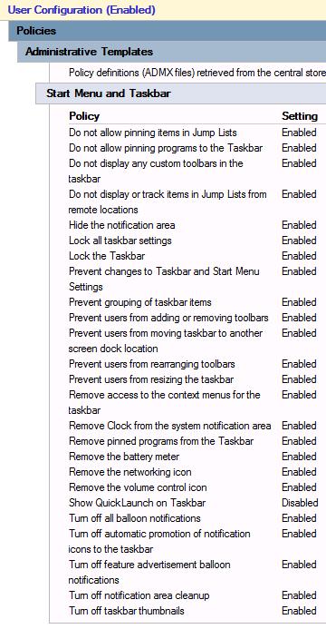 Windows - Restricted Taskbar