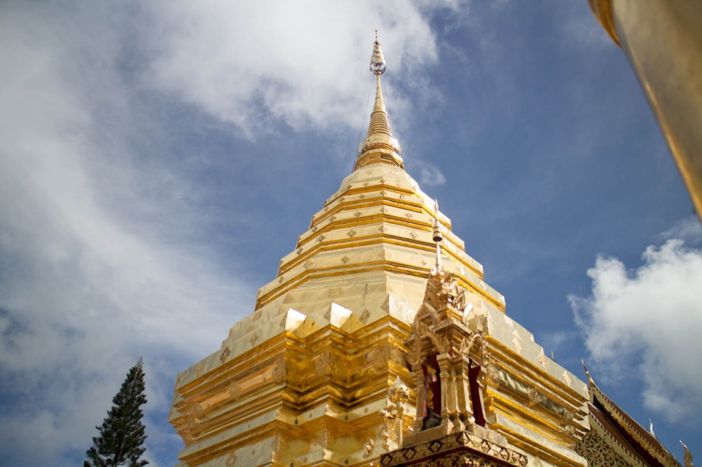 The doi suthep temple is on top of an hill next to Chiang Mai city. You'll get the most beautiful view from up there.