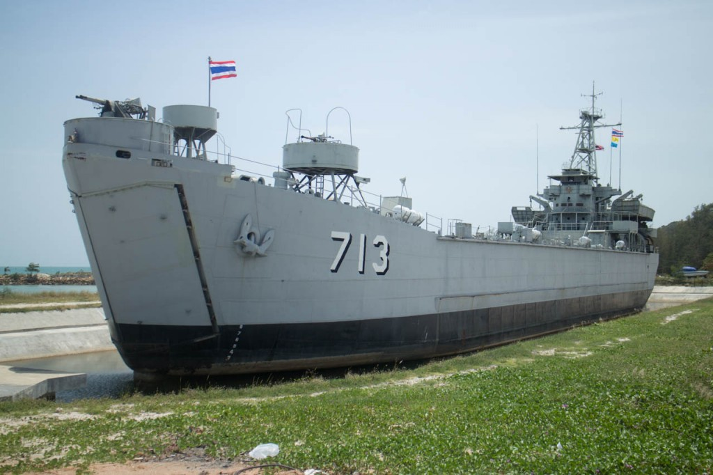 This flagship is placed in pool next to the harbor in Ko Phangan. It seems that nobody is aware of the purpose of this exhibition.