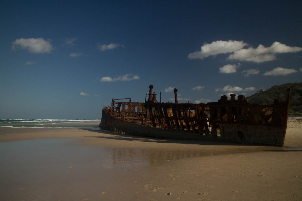 You'll find this ship wreck on Fraser island. The interesting thing is the funny story about how this ship ended up here.