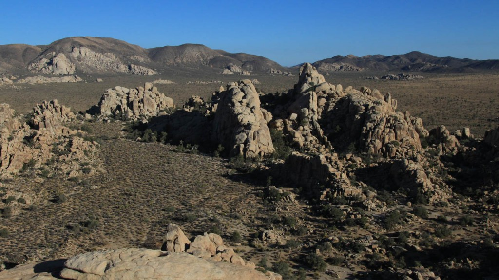 The hidden valley in the Joshua Tree national park looks more beautiful when the sun sets.