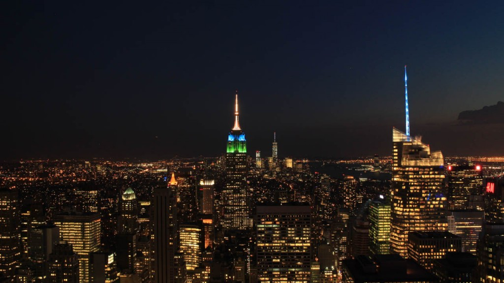 New York by night seen from the Rockefeller plaza building.